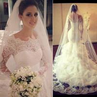 Vestidos De Noiva 2016 Элегантные кружева с длинными рукавами Русалка труба Свадебные платья плюс размер Саудовская Аравия Дубай Sheer Свадебные платья