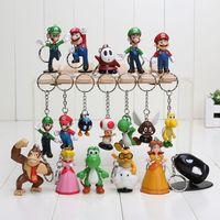 Super Mario keychain Luigi Action Figures 18pcs set youshi m...