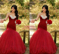 2015 Bold and Sexy Red Mermaid Wedding Dresses Cheap Arabic ...