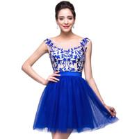 Royal Blue Sheer Neck Homecoming Dresses 2015 Applique Cap S...