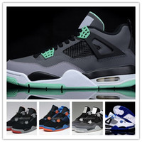 2016 Basketball Shoes Retro 4 CEMENT Green Glow Cheap Sports...