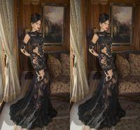 2016 Sexy Black Long Evening Dresses Cheap Lace Applique Bat...