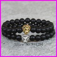 Vente en gros-2pcs / lot nature 8mm noir semi-précieux / Agate / Onyx Bracelet Perles de Pierre GoldSilver Lion Head Charm Bracelet Yoga Mala