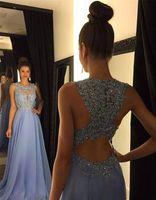2016 Purple Bodice Prom Dresses Chiffon Sequins Crystal Bead...