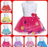 Summer Toddler Girls Dress Rose Flower Colorful petals Gauze...