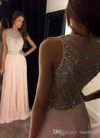 Robe De Soiree Crystal Long Chiffon Prom Dresses 2016 Sheer ...