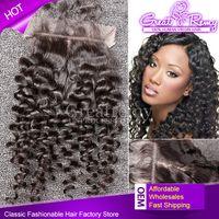 Cheap Silk Base Closure Brazilian Virgin Hair Curly Wave Fre...