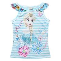 3 Color Summer T- shirt Frozen fever Elsa striped Sleeveless ...
