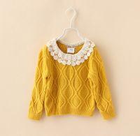 3- 8T Pure Cotton Girls Crochet Sweater Autumn Winter Hooked ...