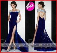 Royal Blue Velvet Evening Dresses 2015 Glittering Crystals B...