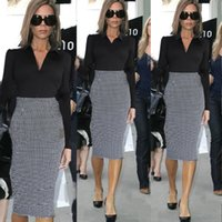 Women Celebrity Long Sleeve Houndstooth Patchwork Color Bloc...