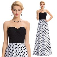 New Grace Karin Strapless A- line Polka Dots Splicing Backles...