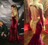 Burgundy Velvet Evening Dresses Arabic 2016 Sexy High Neck L...