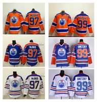 Ойлерз # 97 Макдэвид Оранжевый Синий Белый трикотажные изделия хоккея Скидка Дешевые # 99 Уэйн Гретцки Хоккей одежда бренд Мужские хоккейные Униформа для продажи
