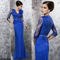 Royal Blue Chiffon Long Sleeve Wedding Evening Dresses 2015 ...