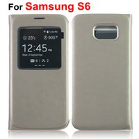 Top Quality Window Flip Leather Case for Samsung S6 case Bat...