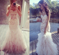 2016 Ivory Sweetheart Lace Applique Tulle Mermaid Prom Dress...