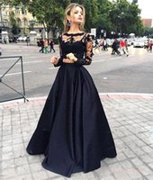 2016 Sexy Two Pieces Evening Dresses Black Sheer Long Lace S...