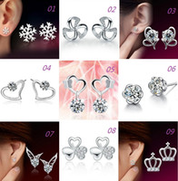New Women 925 Sterling Silver Stud Earrings Angel Wings Hear...