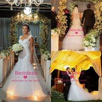 2015 Sheer Back Lace Tulle Mermaid Wedding Dresses Cap Sleev...