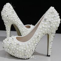 Мода Роскошные Жемчуг Кристаллы Свадебная обувь 2015 Высокий каблук Свадебная обувь выпускного вечера партии женщин обувь Бесплатная доставка