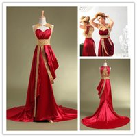 Red Empire Evening Gowns with Gold Beading 2015 New Actual P...