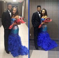 Royal Blue Sunjai Williams Prom Dresses Long 2016 Bling Stra...