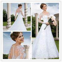 2015 Wedding Dresses Backless Wedding Dress with Long Sleeve...