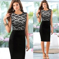 Fashion Black Lace Women Work Dresses 2015 Lady Floral Penci...