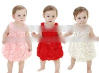 2015 Sweet Baby Girls Vest Dresses Sleeveless Lace Rose Flow...