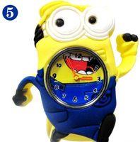 2 015 3D глаз Гадкий я шлепка миньон Драгоценные часы Молоко папа Дети часы Slap Snap On Силиконовые Кварцевые наручные часы 100шт