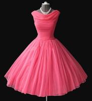 Реальный образец 1950-х Урожай Бато декольте чай длины мантии шарика Опухший арбуза шифон Короткие платья выпускного вечера Вечерние платья