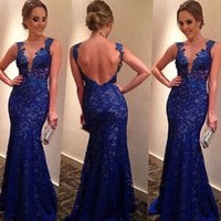Royal Blue Evening Dresses with Lace Applique 2015 New Fashi...