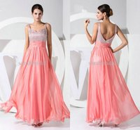 Coral Pink Chiffon Beaded Beach Bridesmaid Dresses Cheap Und...