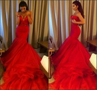 2015 Hot Amazing Red Organza Mermaid Prom Dresses Sexy Sweet...