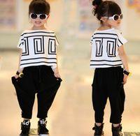 Big Girls Summer Sets Outfits Bat Sleeve Loose T- shirt Tops+...