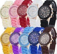 China luxury mens- watches women men geneva watch rubber cand...