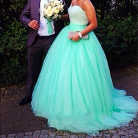 Exquisite Sequin Beaded with Green Tulle Prom Dresses 2015 B...