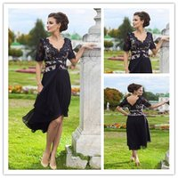 2015 Modest V- Neck Mother of The Bride Dresses with Short Sl...