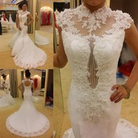 New white fashionable high neck court train mermaid wedding ...