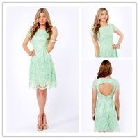 2014 New Arrival Mint Light Green Sheath Short Sleeve Brides...