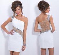 2014 Sparkly Crystal Short Prom Dresses 2015 One Shoulder Sh...