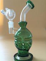 2015 Nouveau Verre Vert Faberge Oeufs tubes d'eau bongs en verre avec cage d'oiseau perc 14.5mm avec seau à miel.