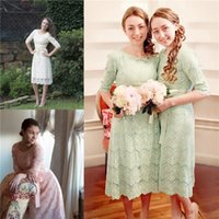 Vintage Knee Length Lace Bridesmaid Dresses with Jewel Neck ...