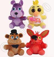 60PCS HHA620 Juego 25CM Cinco noches en la felpa de Freddy Bonnie / Foxy / Freddy / Chica Fazbear juguetes de felpa Febear rellenas muñecas suaves