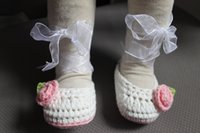 Crochet baby girl shoes ballet shoes flower leaves organza r...