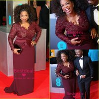 2014 Plus Size Evening Dresses Burgundy Oprah Winfrey Red Ca...
