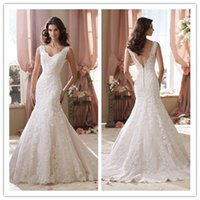 2015 Mermaid Wedding Dresses With Lace Applique V- Neck Court...