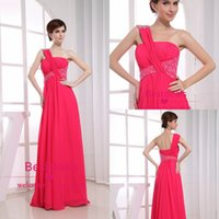 2015 One Shoulder Crystal Beads Long Chiffon Prom Dresses Se...