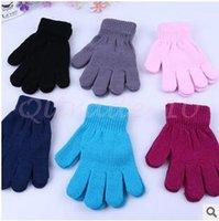 100pair LJJC2860 высокого качества Детские сплошной цвет трикотажные перчатки пальцев конфеты цветов Дети Детские вязаные перчатки Полный Finger Натяжные варежки